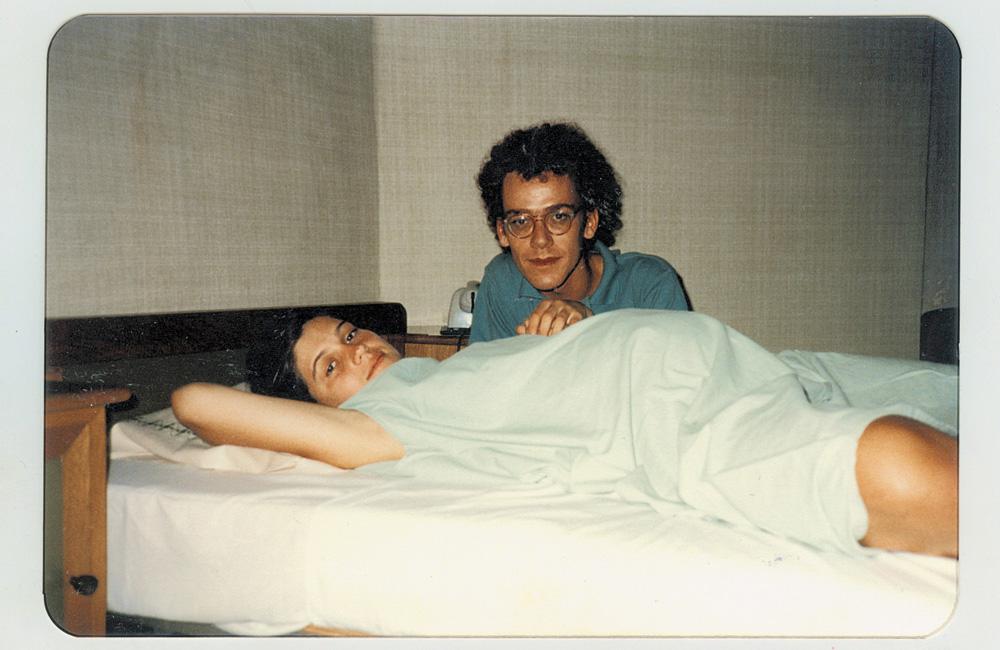 Com Vânia no dia do nascimento do primeiro filho, Theodoro, em 1986
