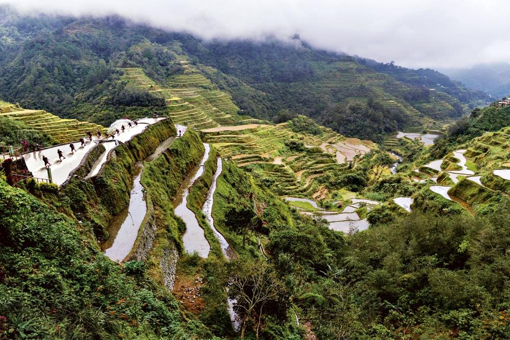 Prática de winch nos terraços de arroz das cordilheiras das Filipinas