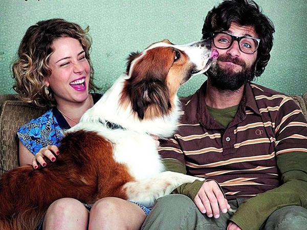 Com o ator Bruno Gagliasso no filme Mato sem cachorro