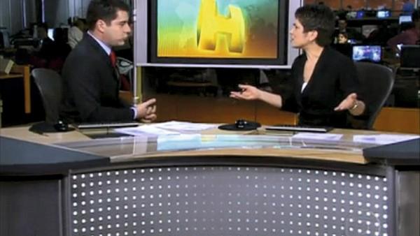 Com Evaristo Costa no Jornal Hoje, ao comentar o empurrão sofrido por Monalisa Perrone: