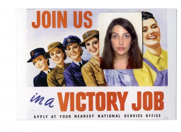 3x4 de Clarice Falcão sobre um cartaz australiano da Segunda Guerra Mundial que encorajava as mulheres a trabalhar
