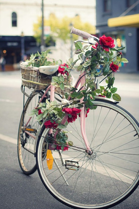 Uma bicicleta aposentada pode virar objeto de decoração por causa das flores