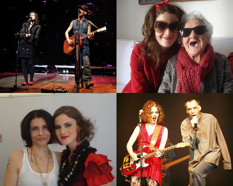 Em sentido horário; Ana divide o palco com Nando reis, com sua avó, com Marina Lima e em apresentação com Arnaldo Antunes