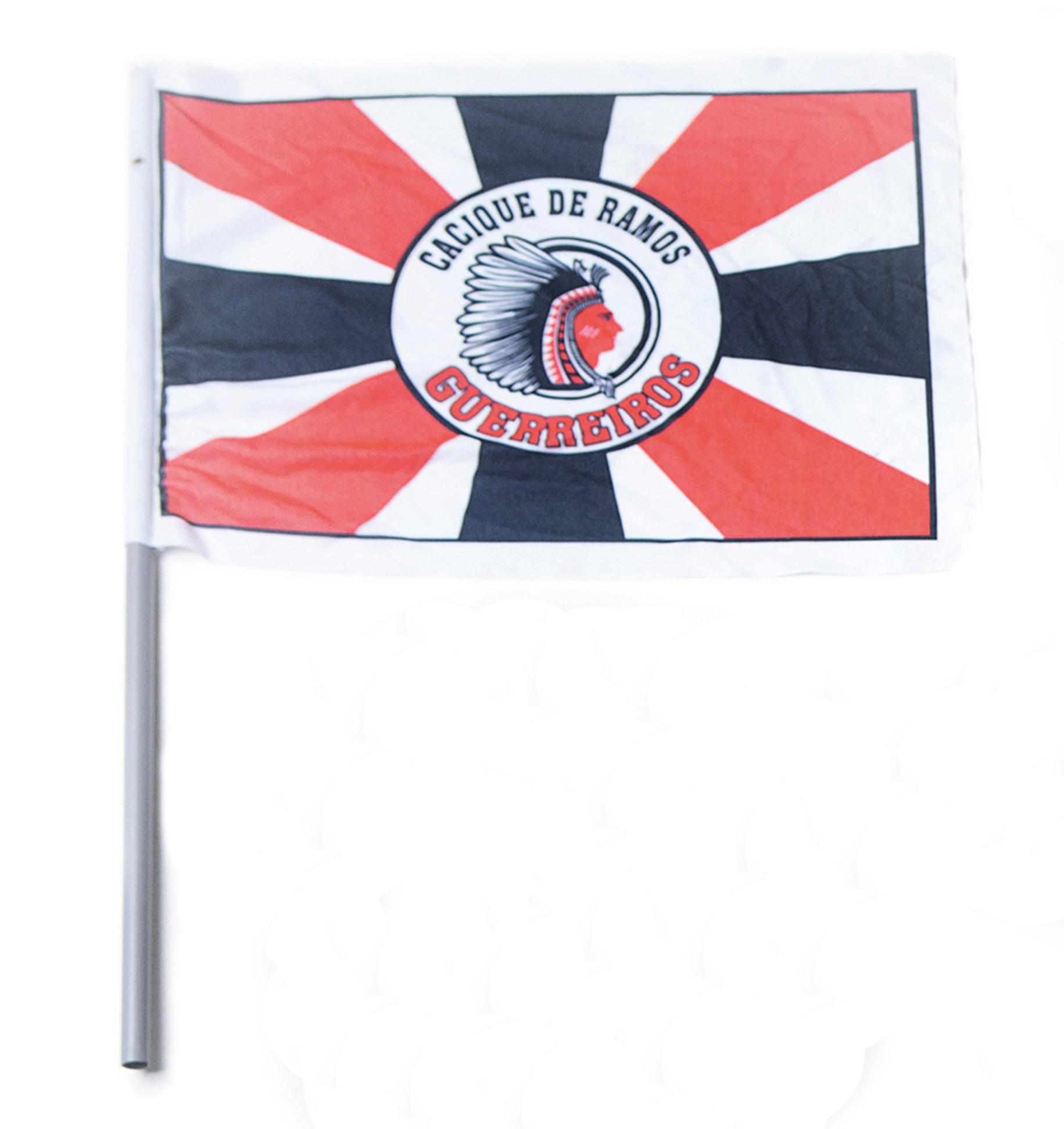 "Bandeira: ""É o símbolo do bloco Cacique de Ramos."""