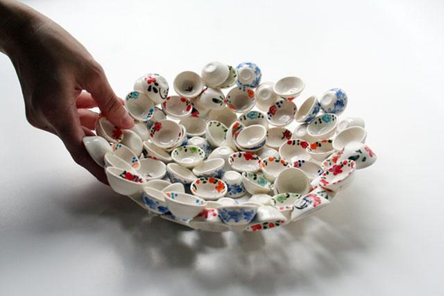 Mais uma tigela, dessa vez feita com míni-xícaras