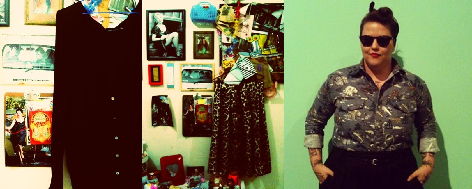 """Brisa Issa, produtora - """"Bom, eu sou uma pessoa bem apegada com meu vestuário. Confesso que foi bem difícil escolher qual roupa minha eu tinha uma ligação emocional maior, pois quando encano numa peça não me desgrudo (tanto que tenho até hoje uma bermuda customizada por mim mesma da época que eu andava de skate). A saia midi de oncinha e o cardigã preto foram presentes da minha amiga Patricia Grejanin, estilista da Laundry. A história começou pois sou louca pelas roupas da Laundry, que tem uma pegada vintage que eu AMO, porém nenhuma ficava legal em mim. Daí para resolver meu problema a Pati fez a saia sob medida. Já o cardigã (chamo ele de 'cardigã velhinho do amor'): eu estava louca por uma peça assim, mas tinha que ser preta. Fiz minha mãe rodar Salvador inteira atrás de um e eu rodei por aqui em São Paulo. Quando eu tinha desencanado e desistido de ter um cardigã preto, me aparece Pati: 'amiga, tenho umas roupas pra te dar... tem este cardigã aqui que eu não uso mais pois tenho outros 50, você quer?' Nossa, quase chorei!!! Alias, é assim até hoje. Sempre ela acerta nas roupas que me dá! Eu sei que são peças que eu nunca pretendo me desfazer, foram presente de uma das minhas melhores amigas"""""""