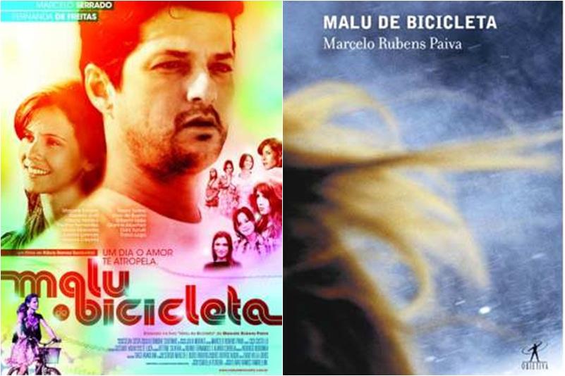 Capa do filme Malu de bicicleta e capa do livro