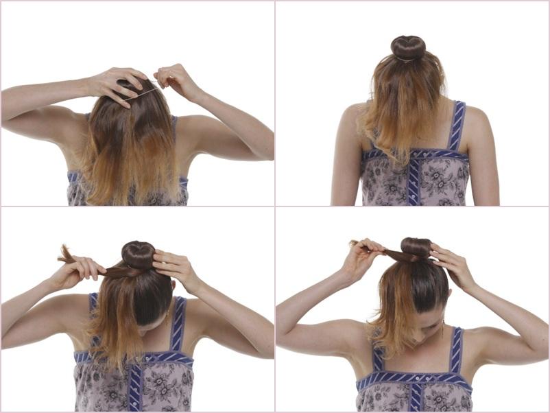 Separe um elastiquinho e prenda o coque. Use quantos forem necessários pra ficar bem firme