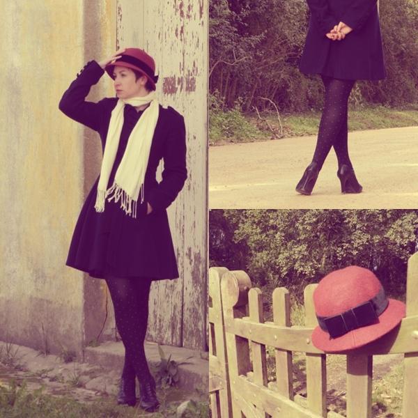"""Domingo: """"Ganhei este chapéu cloche de aniversário da mamãe, e não via a hora de usá-lo. A década de 1920 é a minha preferida no que se refere não só à Moda, mas a História do período. Os """"anos loucos"""" sempre povoaram os meus mais recônditos sonhos... O filme Meia-noite em Paris define essa minha paixão!  E para completar, um casaco de lã bem quentinho e meias fio 70 - Chapéu Cloche presente da mamãe <3, pashmina Renner, casaco Belfast, meias Lupo, sapato Via Marte, brincos Antix, presente da Look de Luxe"""""""