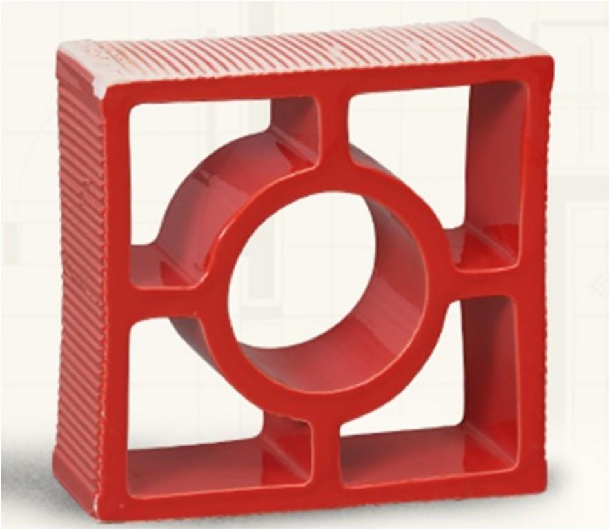 Esmaltado vermelho redondo reto Louça preto modelo rama (Cerâmica Martins - www.ceramicamartins.com.br)