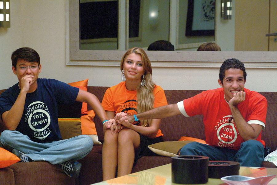 Os três finalistas do Big Brother 2005: Sammy, Grazi e Jean