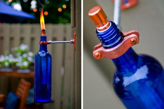 """Luminárias - É possível também fazer uma tocha. No link """"garrafa vira tocha"""" você aprende como"""