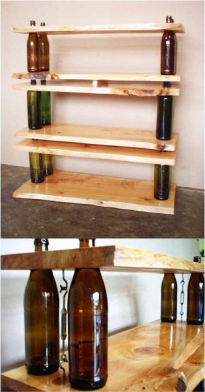 """Estante - Dá para acreditar que até uma estante pode ser feita com garrafas de vinho? A criação é do designer Roy Mohan Shearer e no link """"estante com garrafas de vinho"""" ele ensina como fazer igual"""