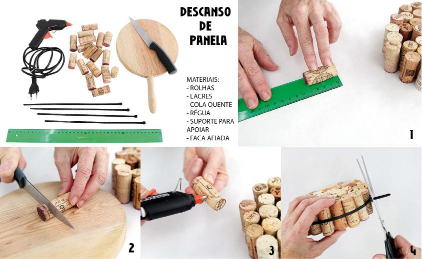Meça as rolhas e, com uma faca afiada, corte todas do mesmo tamanho. Use o suporte apenas para deixá-las alinhadas e saber quantas vai precisar. Depois é só ir colando uma na outra (nas laterais) e, por fim, envolvê-las com o lacre (ou uma fita) só para que não haja o risco de descolarem