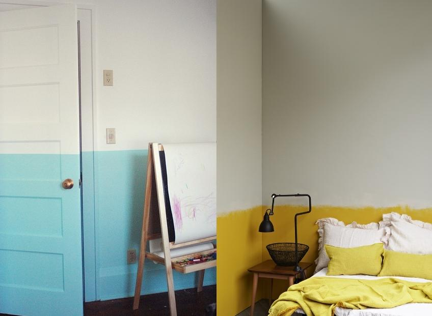 Pintar a parede só até uma certa altura também é uma boa opção. Pro acabamento ficar certinho, se abraça com a fita crepe