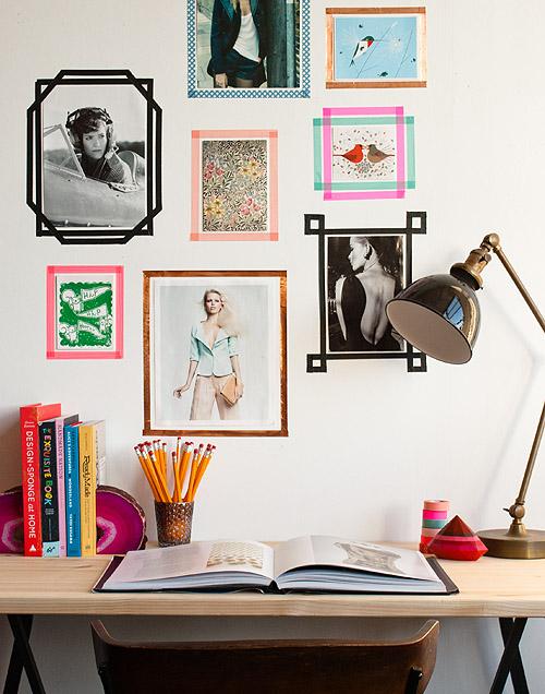 Ainda no assunto fitas, as coloridas dão ótimas molduras e alegram ainda mais a sua parede