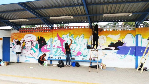 Evento em São Paulo - Graffiti contra enchente. Na ordem:Viber, Nica, Krol e Musa