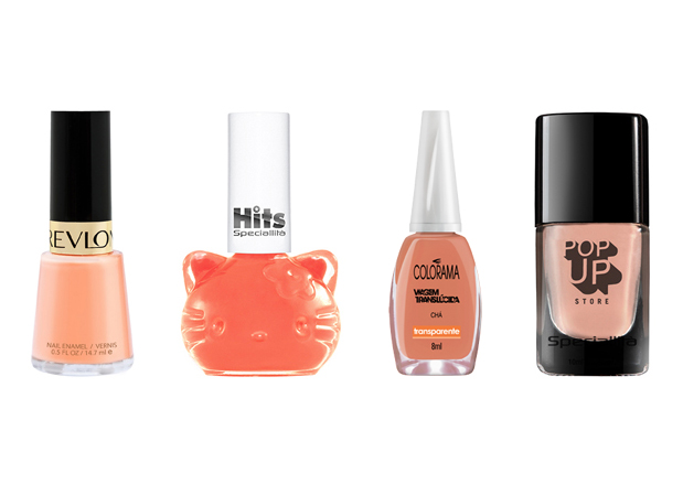 Laranja - Revlon, R$19 / Hello Kitty, R$7,50 / Pop up store, R$14 / Colorama, R$ 2,50 / Pop up store, R$15,90