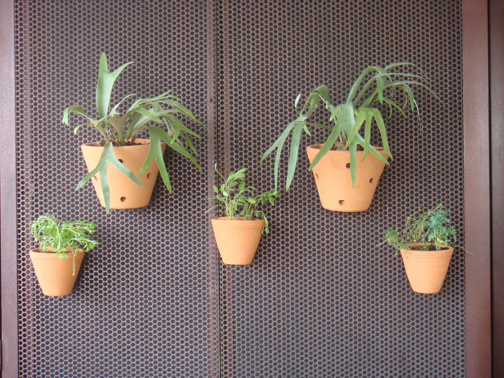 Chifre de veado e ervas em vasos cerâmicos e em painel metálico perfurado l Projeto NeoArq