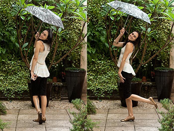 Sexta-feira: O último dia da semana veio com chuva, mas tudo bem! // Sapatilha Arezzo, bermuda Opera Rock, blusa Mona by Thais Mol, pulseira C&A e guarda-chuva 25 de março