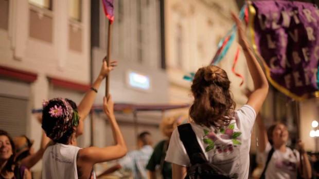 Em ação durante a Marcha: intervenção na Praça do Patriarca