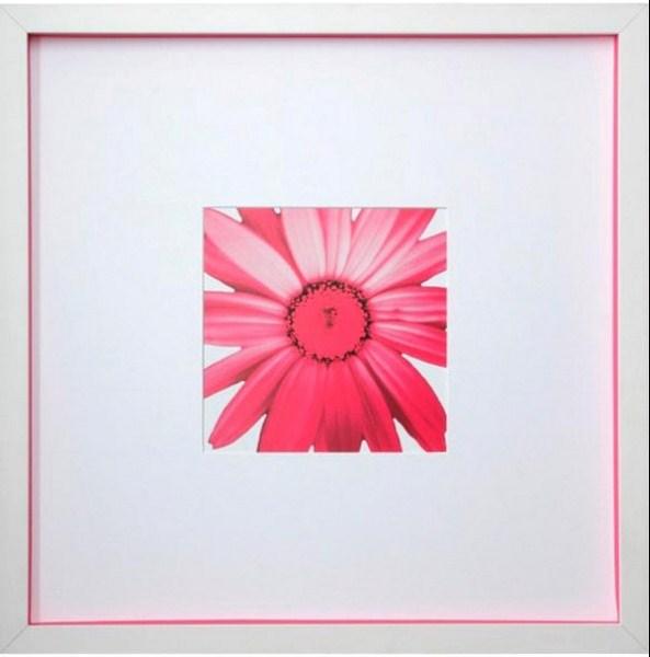 Moldura caixa branca com espessura em cartão rosa e paspatur branco para destacar ton rosa da foto. Moldura Minuto (www.molduraminuto.com.br)
