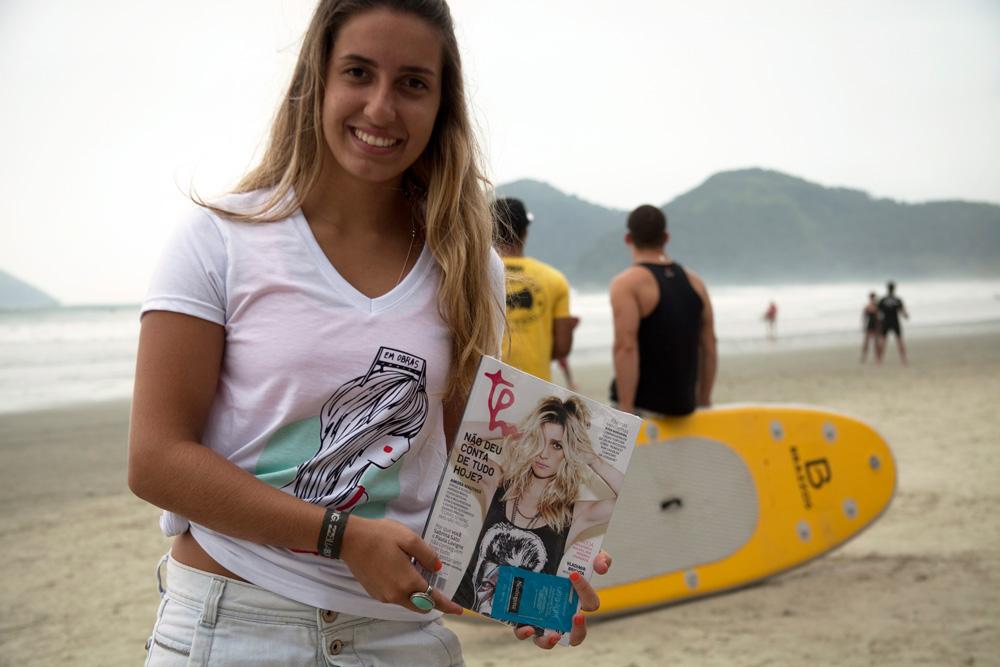 A Gabi entregou Tpms na praia da Baleia