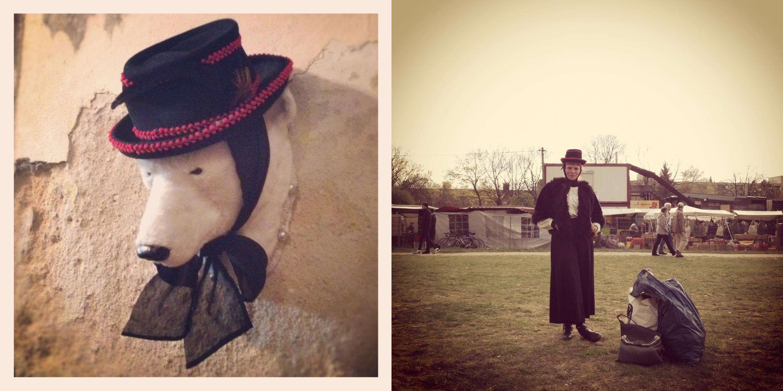 """Paula Reboredo, do brechó B.Luxo - """"É um chapéu que comprei em Berlin em uma feira de antigüidade super legal chamada MauerPark. Achei legal a história do chapéu pois o cara que me vendeu (que era mega cigano) me disse que lembrava da mãe dele usando esse chapéu quando ele era criança. A história é do final dos anos 60. Ele ainda disse que ficou feliz em vender pra mim pois eu iria saber como usar! Amei tanto que já sai vestida com o chapéu da feira!"""""""