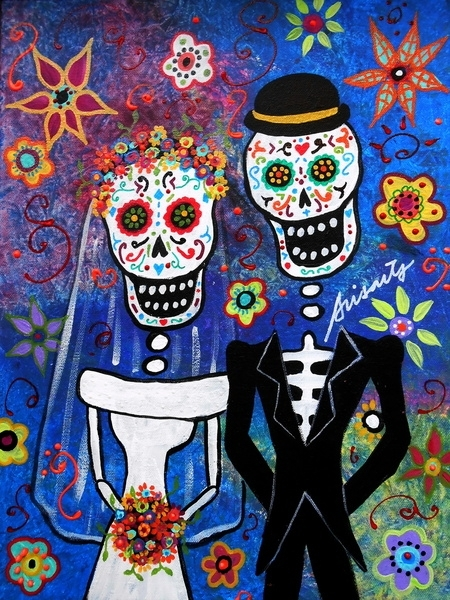 Poster Mexican Folk Art Wedding Painting - Prisarts - na Society6