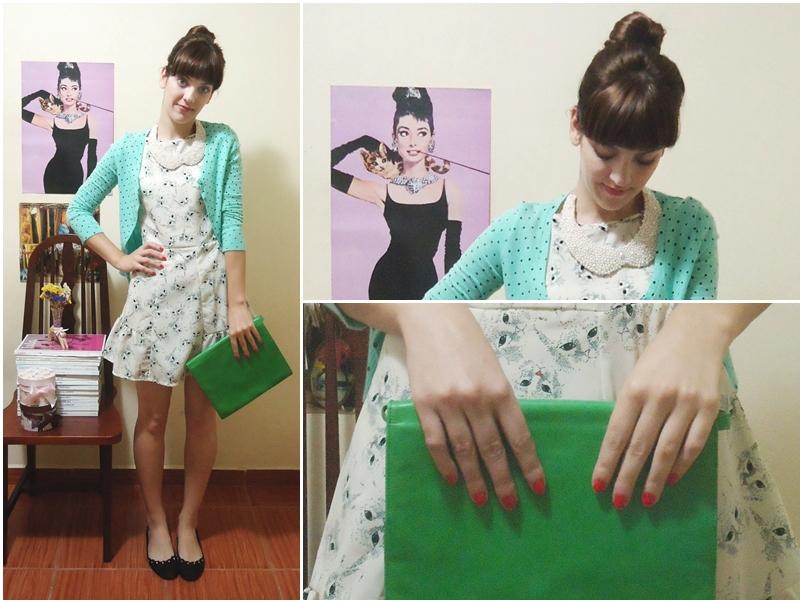 Domingo: vestido de gatinho Farm; cardigan Renner; gola/colar JakQfaz; bolsa de um brechó; sapatilha Arezzo