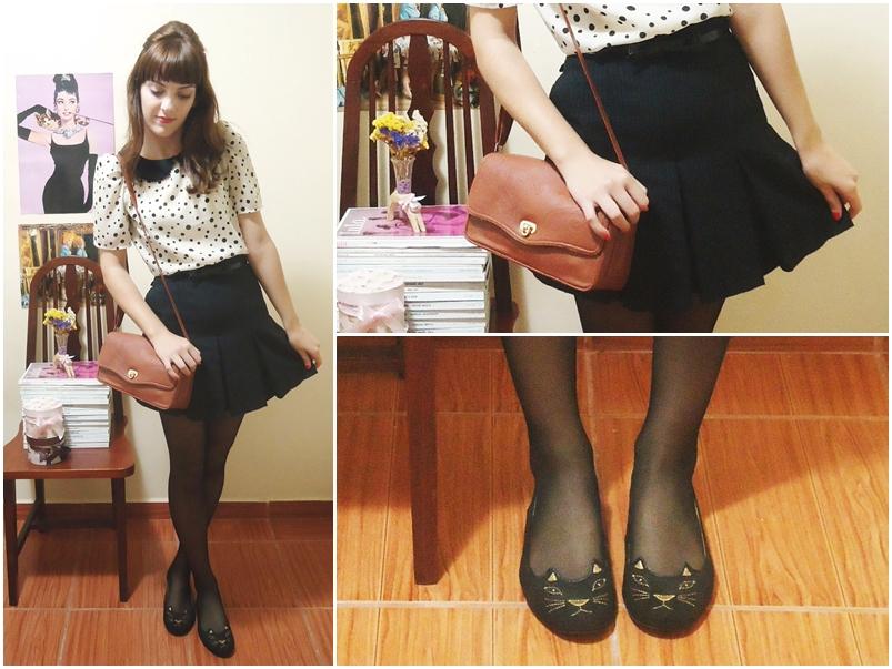 Quarta-feira: blusa Farm; short saia de um brechó; meia Lupo; bolsa Marisa; sapatilha Imporium