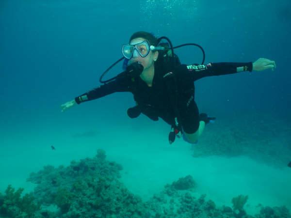 Natália mergulhando