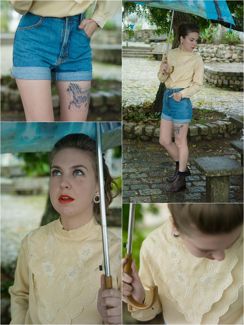 Segunda: Guarda-chuva de camelô. Camisa e shorts jeans são herança de família. Bota D'milton Boots.