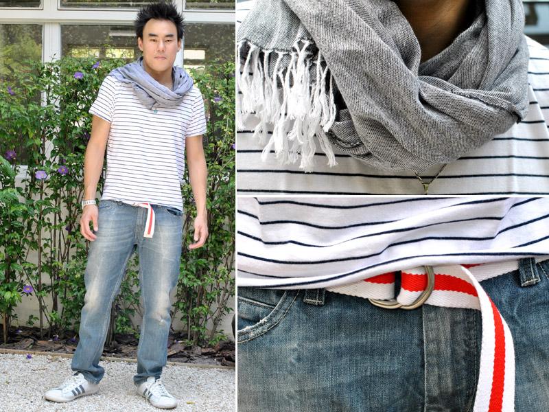 """Quinta: """"Trabalho e cinema depois"""". Junji usa calça,camiseta e echarpe Zara e tênis e cinto Adidas."""