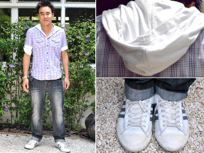 """Sábado: """"Sábado é um dia que eu sempre saio. Vou jogar bola e depois saio com essa roupa para balada"""". Junji veste  camisa, cinto e calça Zara e nos pés, usa tênis Adidas."""