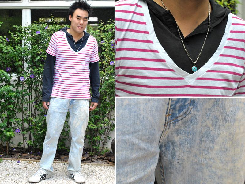 """Terça-feira: """"Vou trabalhar e depois jogar bola"""" Junji veste camiseta listrada Old Navy, camiseta preta Calvin Klein, calça Zara e tênis Asics."""