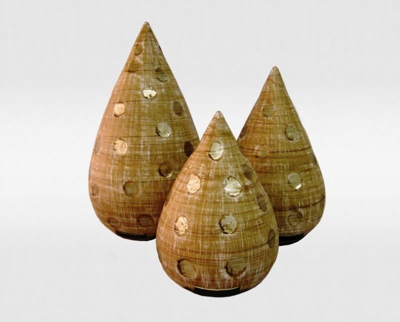 Sugestão de objetos: Conjunto de vasos Gota Poá com Prata l Disponível na ObraVip