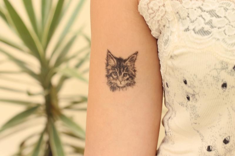 Tatuagem temporária de gatinho, R$ 9,90