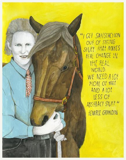 Temple Grandin. Estadunidense, professora e doutora em ciência animal