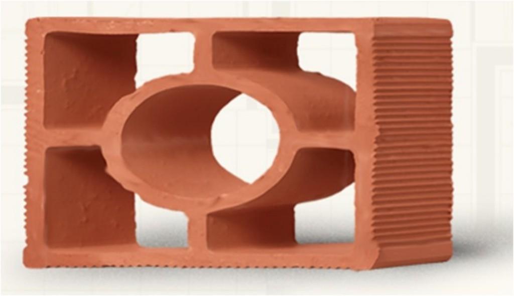 Tijolo natural modelo diagonal redondo (Cerâmica Martins - www.ceramicamartins.com.br)