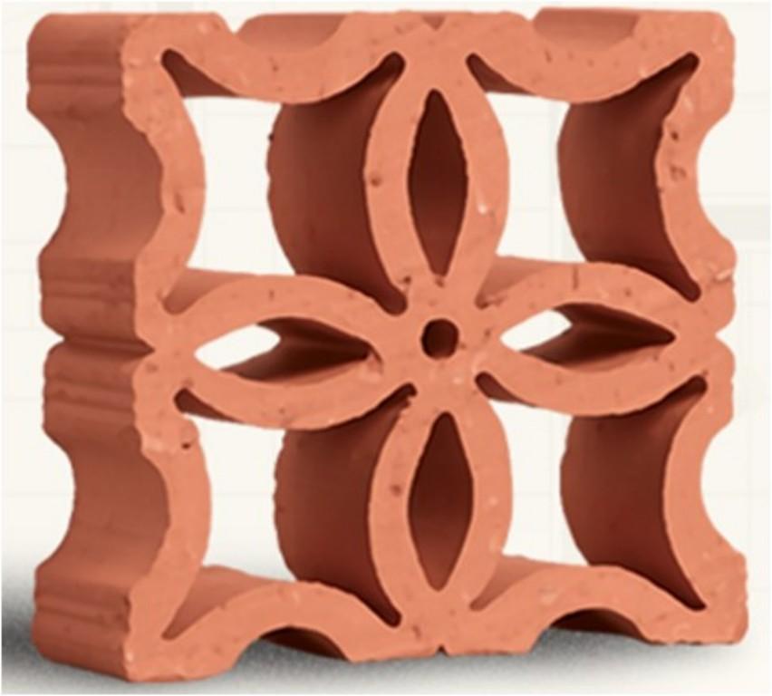 Tijolo natural modelo reto flor (Cerâmica Martins - www.ceramicamartins.com.br)