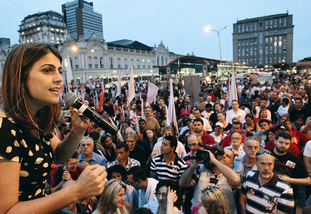 No mercado municipal de Porto Alegre, em 2012, fazendo campanha para prefeita
