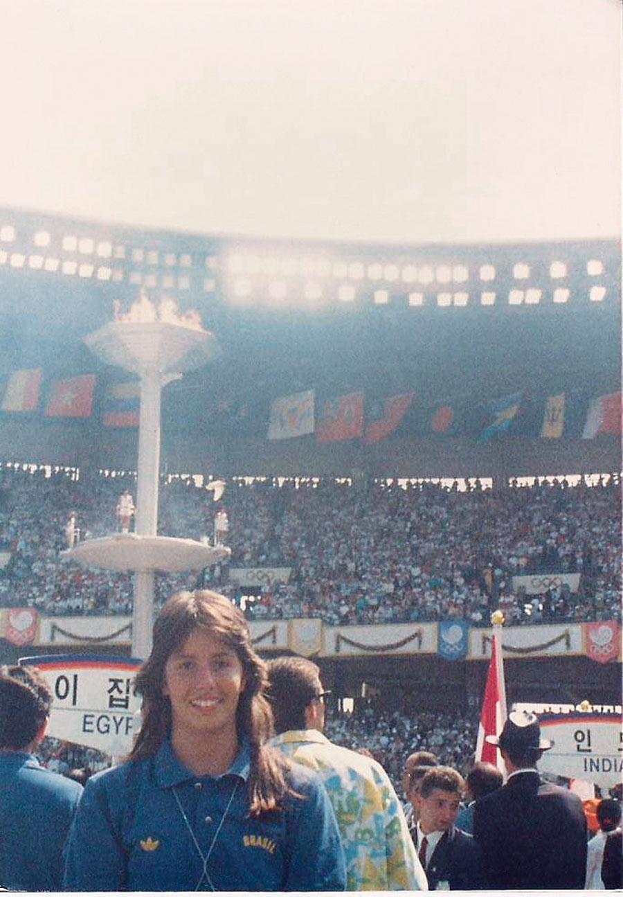 Sorriso estampado no dia de abertura da tão esperada Olimpíada de Seul em 1988