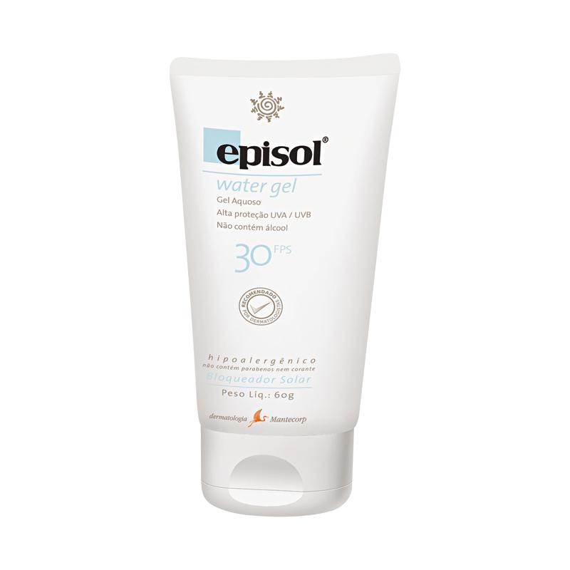 7 • Episol Water Gel FPS 30, R$ 32,82: possui base aquosa, é absorvido rapidamente pela pele, sem deixar resíduos. Não contém álcool. Mantecorp 0800-0117788