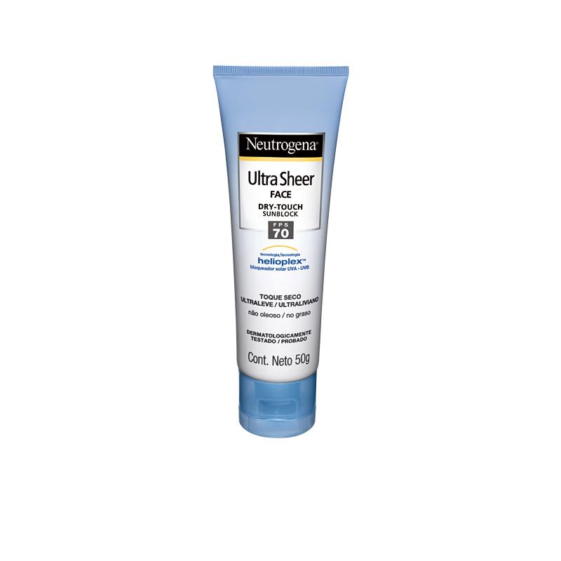 4 • Neutrogena Ultra Sheer Face FPS 70, R$ 44,90: é o filtro com maior cobertura UVA disponível no mercado, tem toque seco e textura de fácil aplicação. Neutrogena 0800-7036363