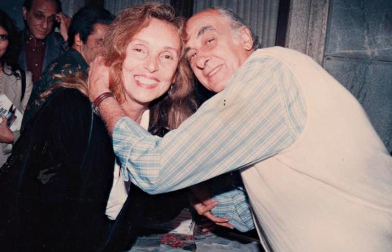Maria Lucia  e Zuenir  Ventura em lançamento de livro nos anos 90