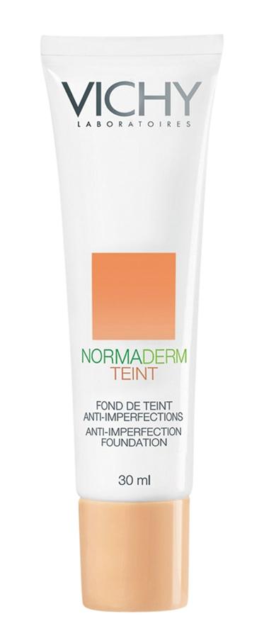 Vichy Normaderm Teint FPS 20, R$ 69,90: base para peles oleosas, com filtro solar, que não desestabiliza em contato com o óleo natural da pele. Vichy 0800-7011552