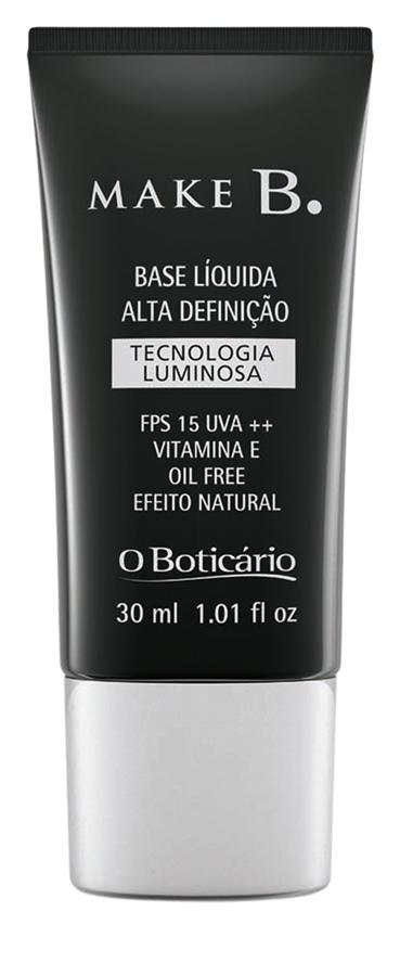 O Boticário Make B. Base Líquida Alta Definição Tecnologia Luminosa, R$ 47,90: indicada para todos os tipos de pele, é leve, livre de óleo e tem efeito luminoso. O Boticário 0800-413011