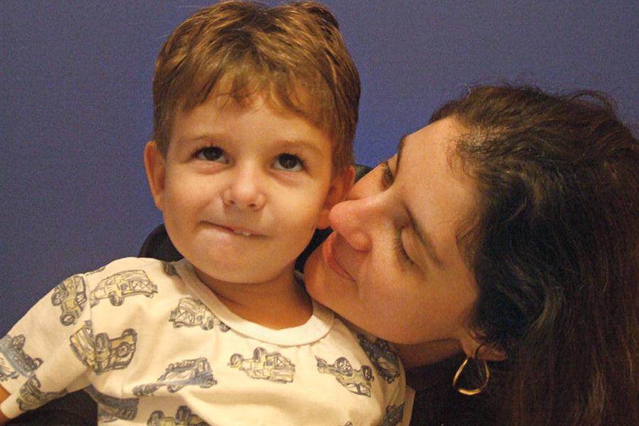 Com o filho, Lucas, em 2007