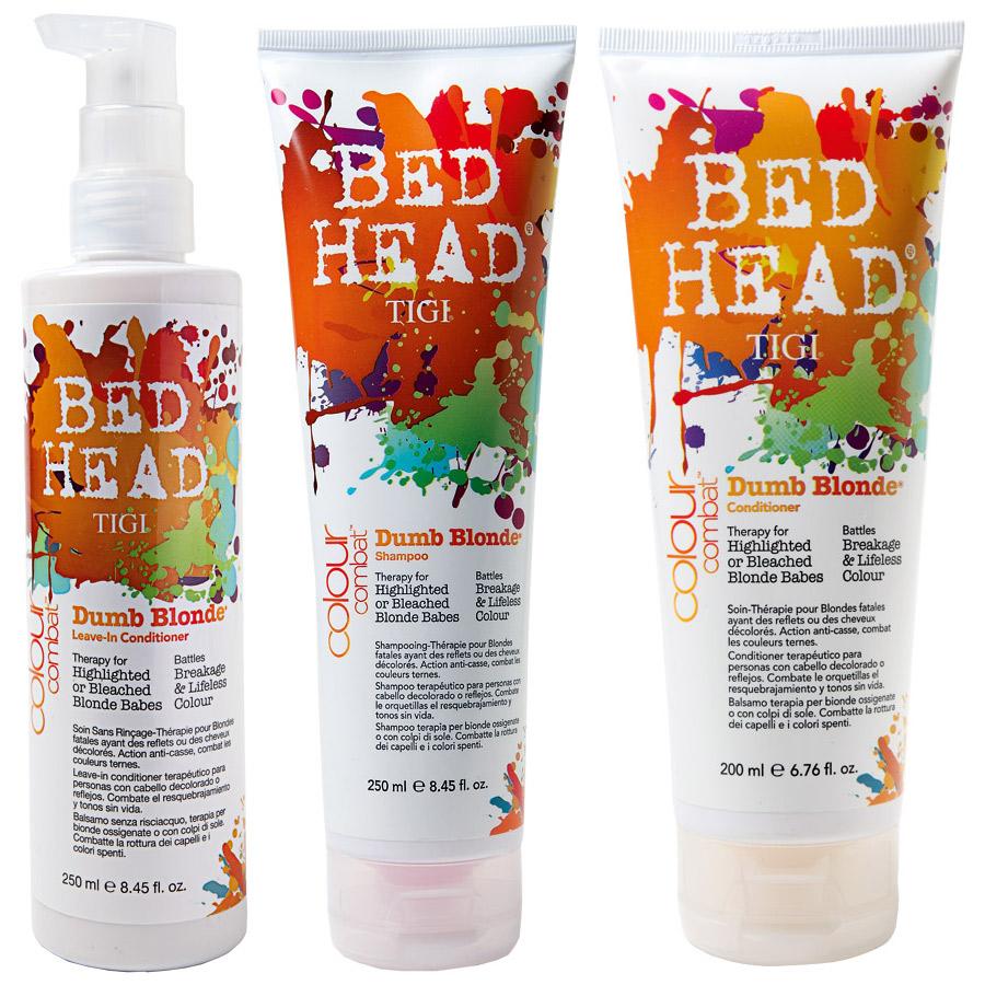 No tom:  A Bed Head lança duas linhas exclusivas para quem tem cabelos coloridos: a Colour Goddess, para os tons castanhos e vermelhos, e a Dumb Blonde (foto), para os fios loiros ou com luzes. Compostas de um xampu, um condicionador e um leave-in, os produtos protegem os cabelos dos raios UV e de chapinhas e secadores – assim os fios não vão desbotar em poucas semanas. Vai lá: 0800-7099440